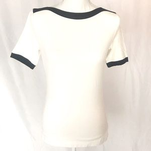 Escada cream and navy boatneck top